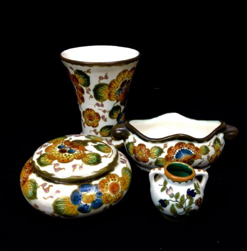 Gouda Pottery Job Lot Regina Factory Cream / Colourful Dutch Art Deco Vase / Jar